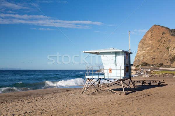 カリフォルニア ライフガード ポスト 砂浜 青 小屋 ストックフォト © backyardproductions