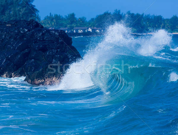 Potente olas romper playa dramático accidente Foto stock © backyardproductions