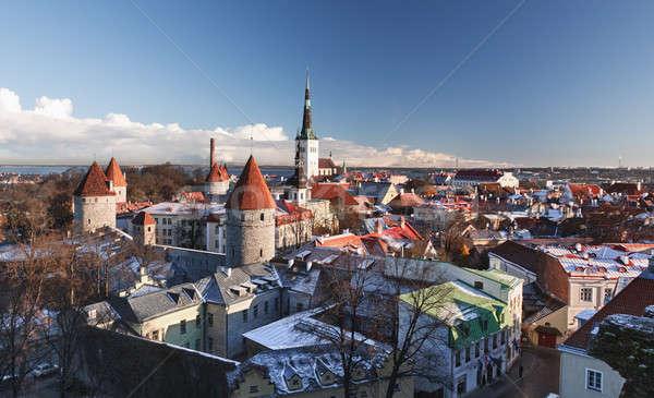 Oude binnenstad Tallinn Estland tonen stad muren Stockfoto © backyardproductions
