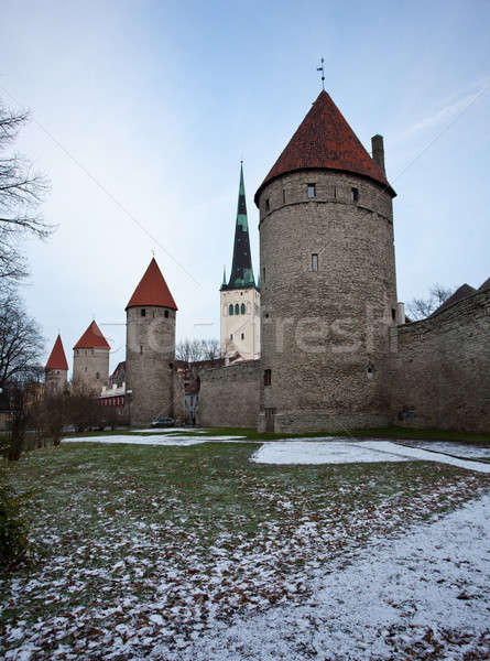 Four towers of town wall of Tallinn Stock photo © backyardproductions