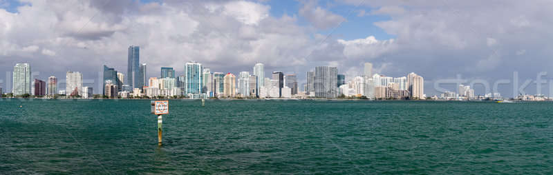 View of Miami Skyline with Manatee sign Stock photo © backyardproductions