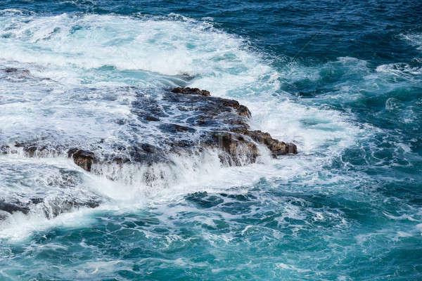 Raging sea flows over lave rocks on shore line Stock photo © backyardproductions