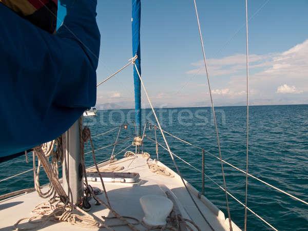 White yacht sailing on calm sea Stock photo © backyardproductions