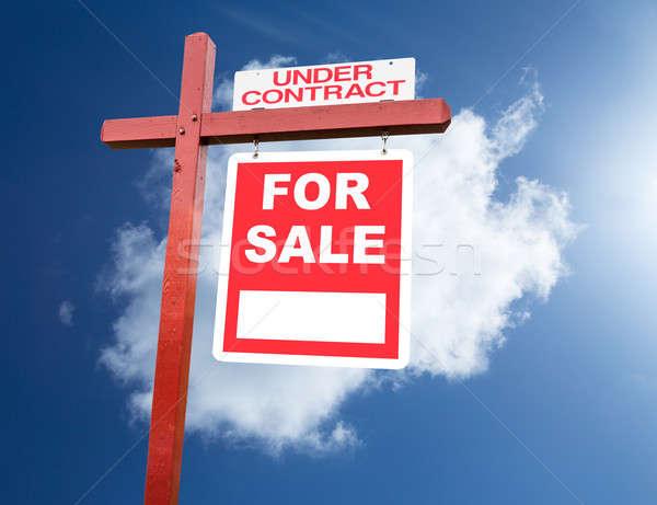 Vásár felirat otthon kék ég ingatlanügynök ház Stock fotó © backyardproductions