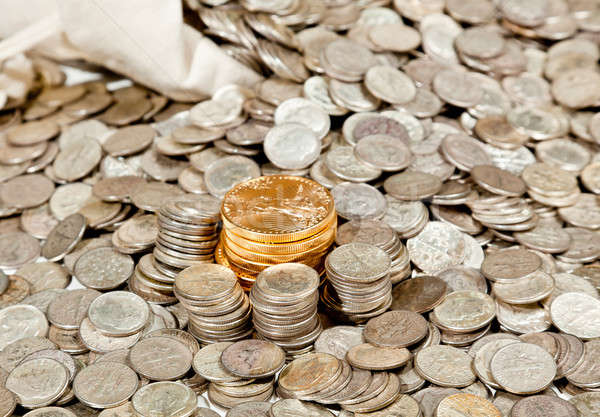 Bag of silver and gold coins stock photo © Steven Heap