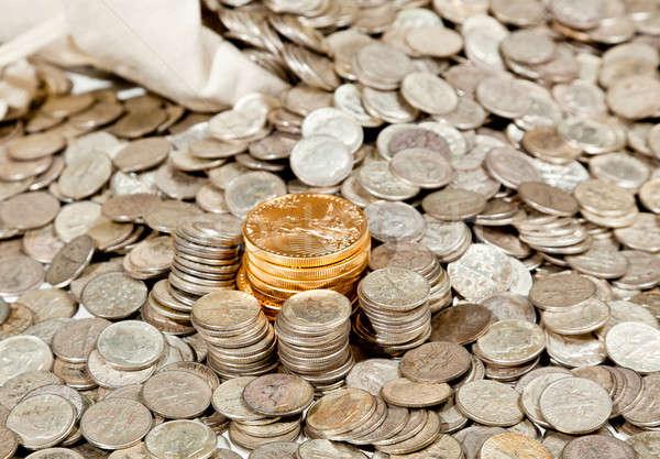 Bolsa plata monedas de oro edad puro Foto stock © backyardproductions