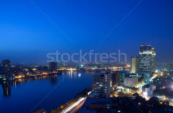 Panorama across Cairo skyline at night Stock photo © backyardproductions