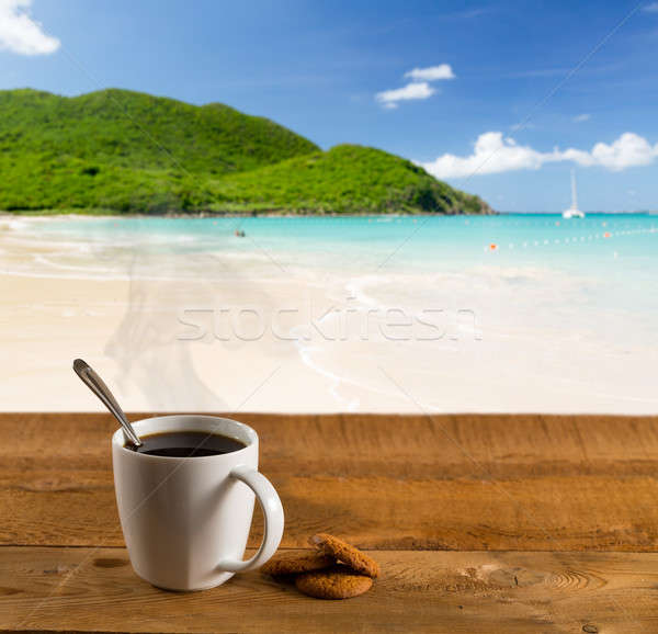 Matin tasse café Caraïbes plage bois Photo stock © backyardproductions