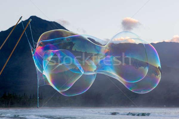 Man making large soap bubbles on beach Stock photo © backyardproductions