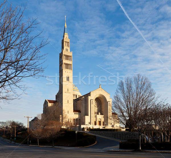 Foto stock: Basílica · santuário · Washington · DC · inverno · dia · edifício