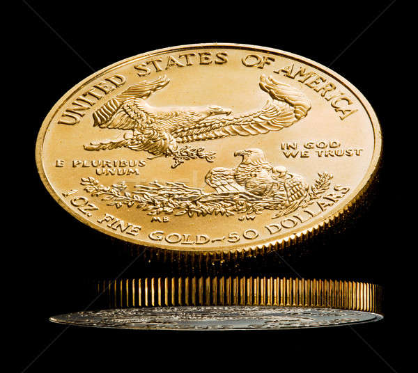 Stock photo: Macro image of gold eagle coin