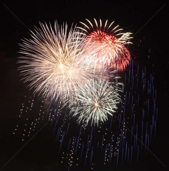 Fireworks in dark sky ready for isolation Stock photo © backyardproductions