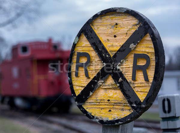 Oude houten spoorweg teken ouderwets Stockfoto © backyardproductions