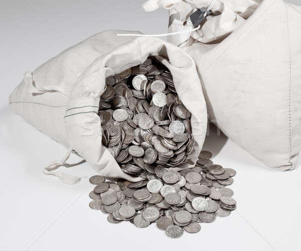 Bag of silver coins Stock photo © backyardproductions