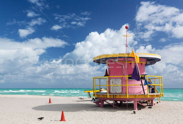 Roze badmeester station Miami strand Stockfoto © backyardproductions