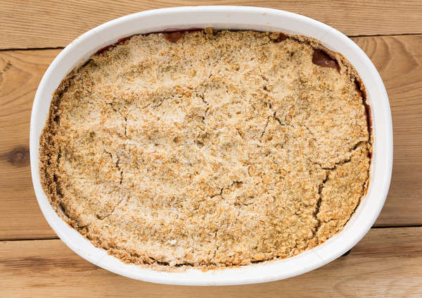 Traditional british apple crumble pie in dish Stock photo © backyardproductions