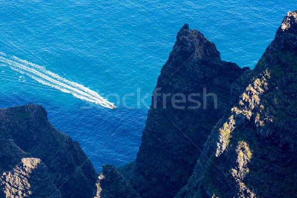 Awaawapuhi trail end on cliff above Na Pali coast on Kauai Stock photo © backyardproductions