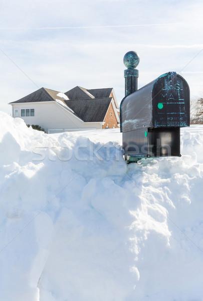 Deep drifts bury mailbox of modern home Stock photo © backyardproductions