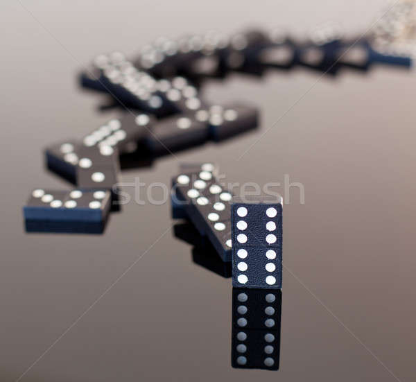 Dominoes collapsed on reflective surface Stock photo © backyardproductions