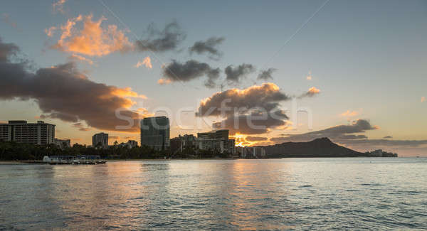 Photo stock: Sunrise · diamant · tête · waikiki · Hawaii · tôt · le · matin