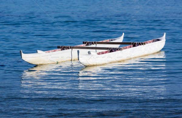 Canoe floating in sea Waikiki Hawaii Stock photo © backyardproductions