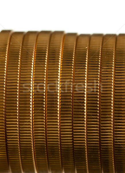 Edge view of stack of golden coins Stock photo © backyardproductions