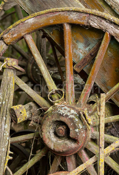 old wooden cartwheel against wood cart Stock photo © backyardproductions