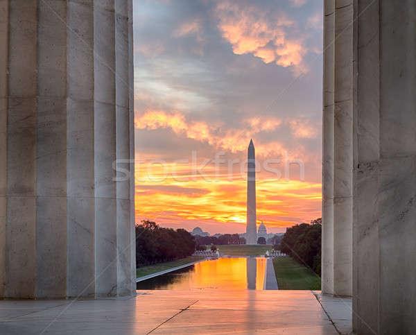 Brilliant sunrise over reflecting pool DC Stock photo © backyardproductions