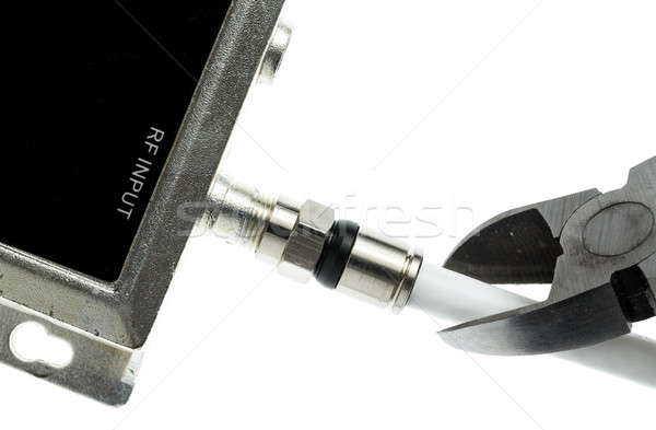 Concept isolated photo of cutting cable cord Stock photo © backyardproductions