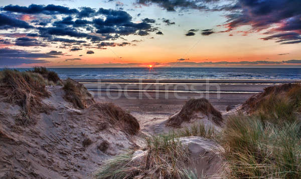 Sunset over Formby Beach through dunes Stock photo © backyardproductions