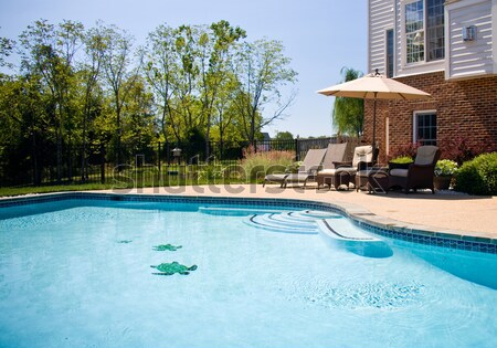 Backyard swimming pool and patio Stock photo © backyardproductions