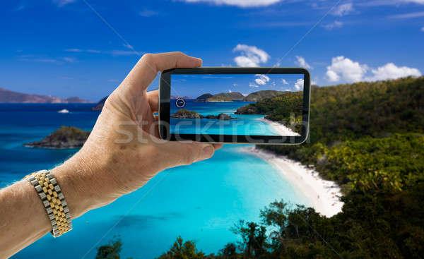 Сток-фото: снимок · пляж · туристических · фото · смартфон