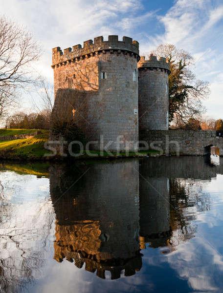 Whittington Castle in Shropshire reflecting on moat Stock photo © backyardproductions