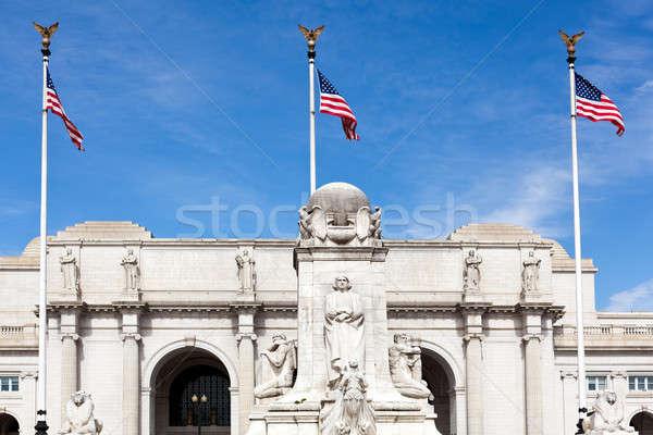 Fontanna Unii stacja Washington DC posąg banderą Zdjęcia stock © backyardproductions
