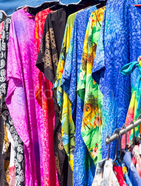 Clothing and fabrics in street market stall Stock photo © backyardproductions