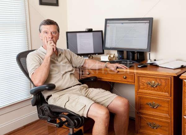 Kıdemli erkek çalışma ev ofis kafkas adam Stok fotoğraf © backyardproductions