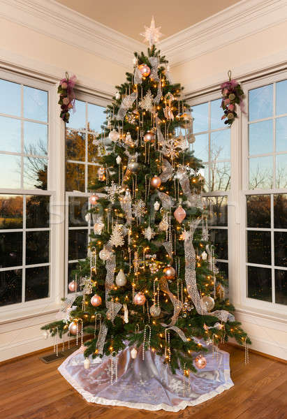 Decorated christmas tree in modern family room Stock photo © backyardproductions