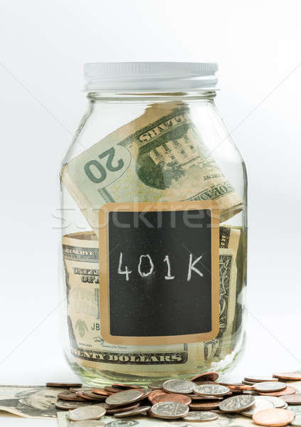 Glass Jar with chalk panel used for 401K retirement Stock photo © backyardproductions