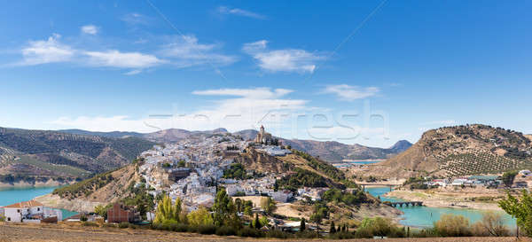 Hilltop town of Iznajar in Andalucia Stock photo © backyardproductions