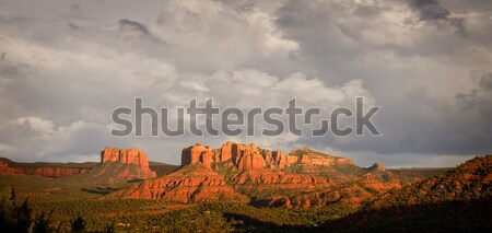 Orageux vue collines rouge roches fin Photo stock © backyardproductions