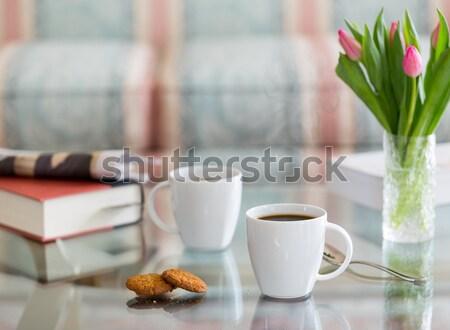 Zwarte koffie witte mok glas tabel moderne Stockfoto © backyardproductions