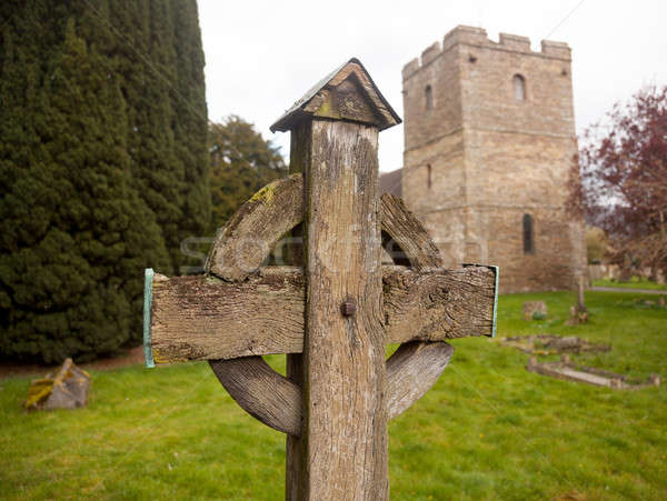 Old wooden cross in Stokesay graveyard Stock photo © backyardproductions