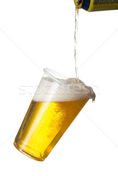 Altın alman birası bira tek kullanımlık plastik fincan Stok fotoğraf © backyardproductions
