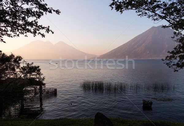 Canoes on Lake Atitlan Guatemala Stock photo © backyardproductions