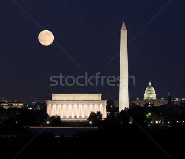 Moon rising in Washington DC Stock photo © backyardproductions