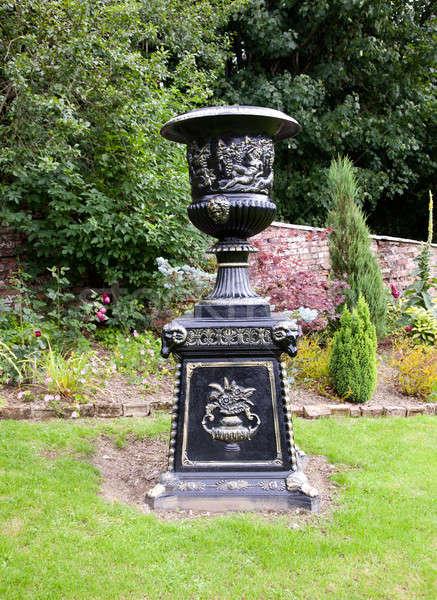 Ornate black garden vase Stock photo © backyardproductions