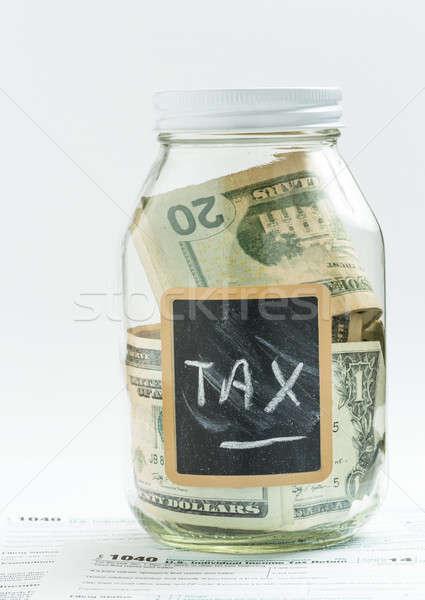 Glass Jar with chalk panel used for savings Stock photo © backyardproductions