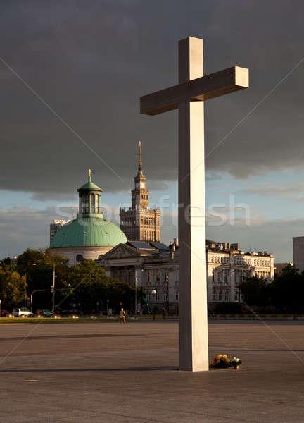 Варшава Skyline дворец культура науки Церкви Сток-фото © backyardproductions