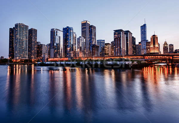 Photo stock: Coucher · du · soleil · Chicago · pier · Skyline · ciel · bleu