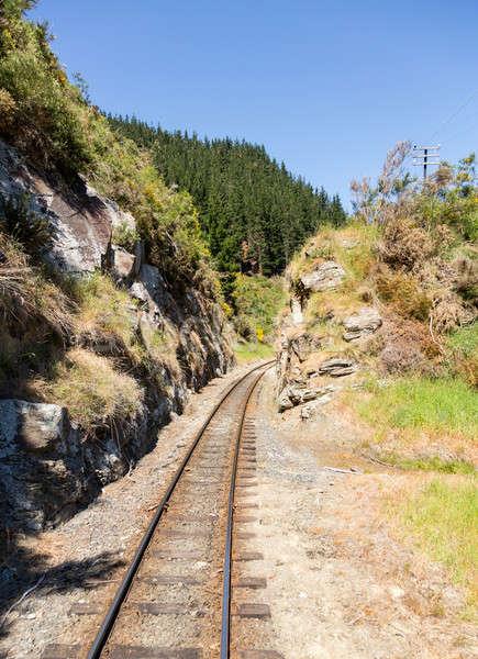 Railway track up Taieri Gorge New Zealand Stock photo © backyardproductions